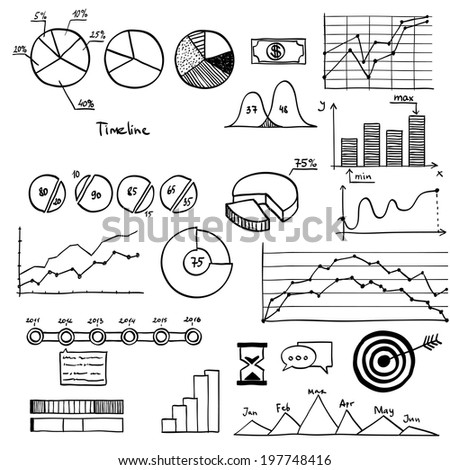 Business and finanse hand draw doodle elements graph chart timeline - stock vector