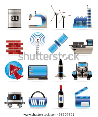 Business and industry icons- vector icon set - stock vector
