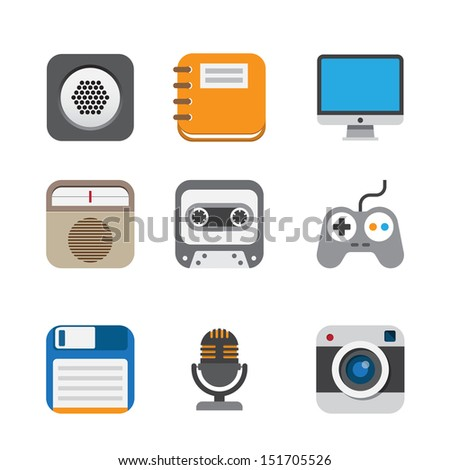 Business and interface flat icons set,Illustration EPS10 - stock vector