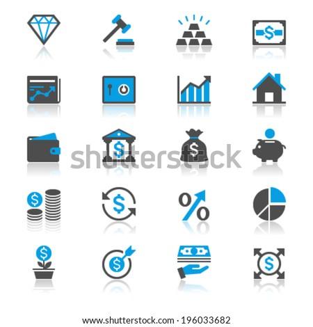 Business and investment flat with reflection icons - stock vector