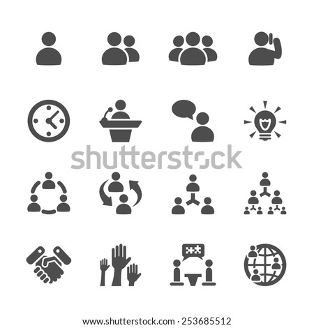 business and management icon set 7, vector eps10. - stock vector