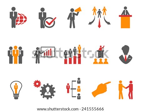 Business and Management Icons orange series - stock vector