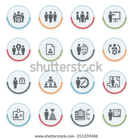 Business and management icons with color stickers.