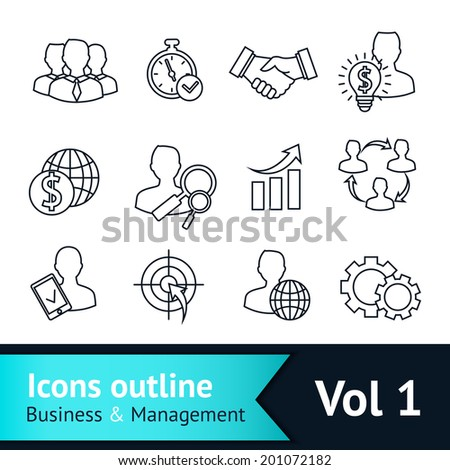 Business and managements outline icons set of handshake goal deal and idea isolated vector illustration - stock vector