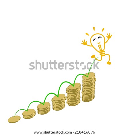 Business and money growth, Financial success concept and bulb idea man - stock vector
