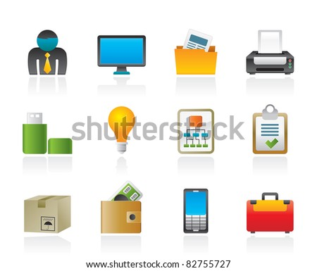 Business and office equipment icons - vector icon set - stock vector