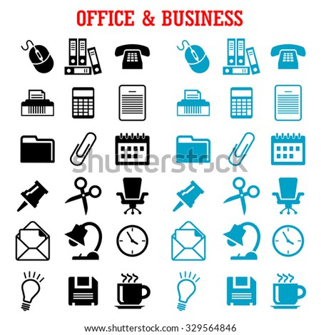 Business and office flat icons with blue and black light bulb, phone, calendar, calculator, mouse, mail, folders, documents, clock, coffee, chair, shredder, scissors, lamp, pin, clip - stock vector