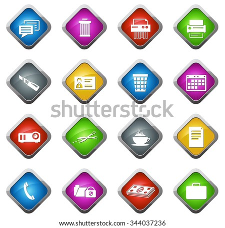 business and office glossy web icon set