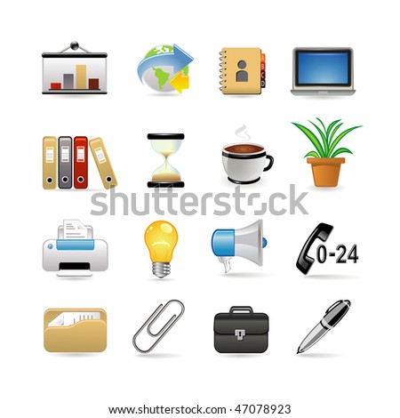 Business and office icon set. Vector illustration - stock vector