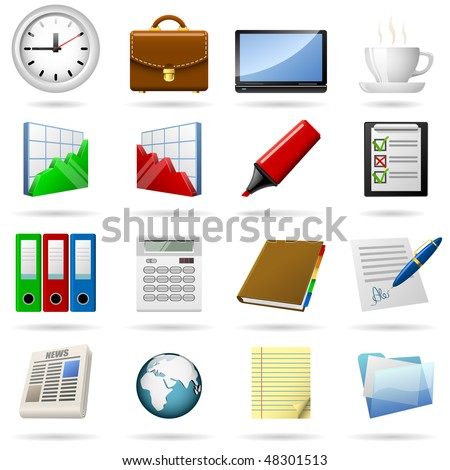 Business and office icons set. EPS10 file. - stock vector