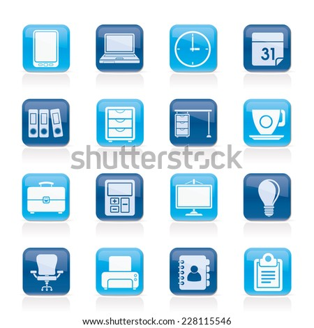 Business and office Icons -vector icon set - stock vector