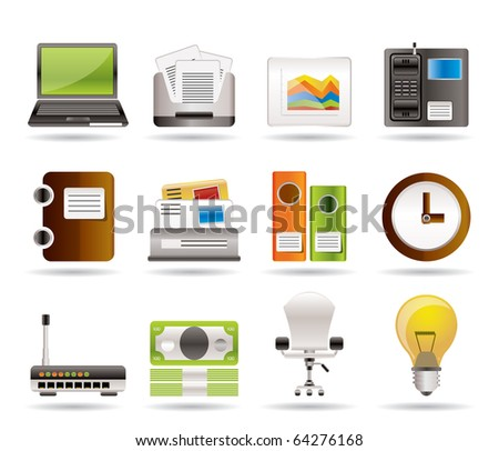 Business and office icons - vector icon set - stock vector
