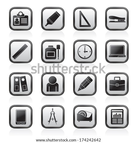 Business and office objects icons - vector icon set - stock vector