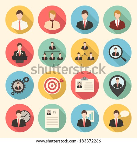 Business and office people, management, human resources colorful flat design icons set. template elements for web and mobile applications - stock vector