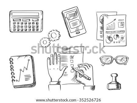 Business and office sketch icons with businessman completing a check list surrounded by analytical charts, calendar, hand stamp, eyeglasses, notebook, calculator and tablet - stock vector