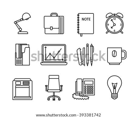 Business and office thin line icons. Office line icons and Business line icons on white background. Vector illustration
