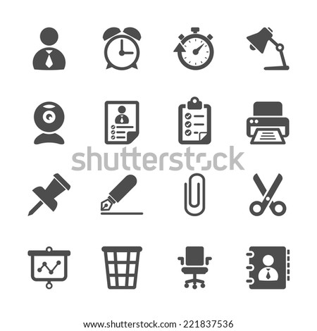 business and office work icon set, vector eps10. - stock vector