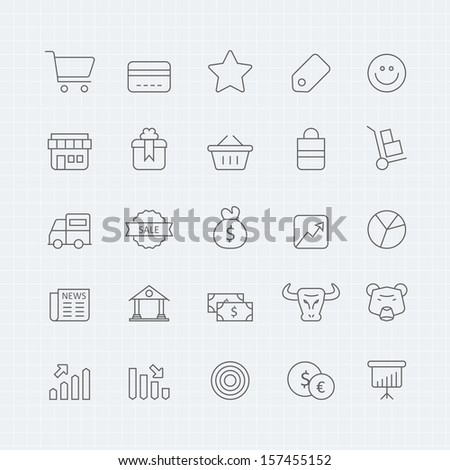 Business and shopping vector thin line symbol icon - stock vector