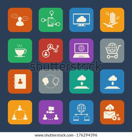 Business and social network icons set. Flat design for Website and Mobile applications. Vector - stock vector