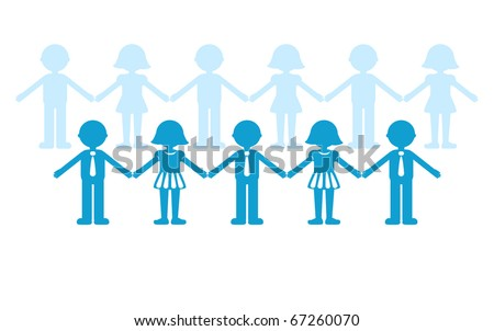 Business and social networking - conceptual image.  Human figures (male and female) representing people connected. - stock vector