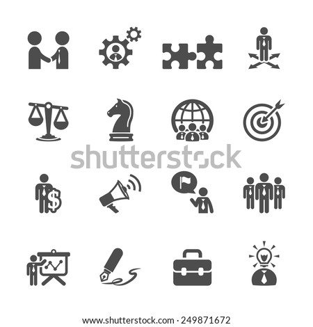 business and strategy icon set, vector eps10. - stock vector