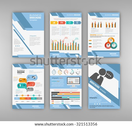 Business and technology presentation template set. Cover layout and infographics.