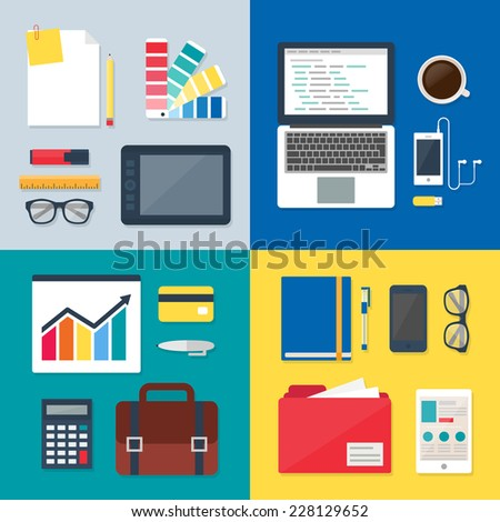 Business and technology sets, workplaces. Vector illustrations in flat style for web  - stock vector