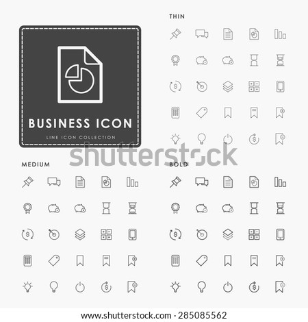 business and web on thin, medium and bold minimal outline icons concept - stock vector