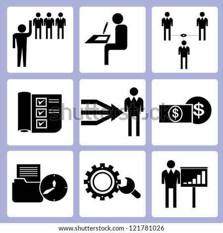 business and working management icon set, vector