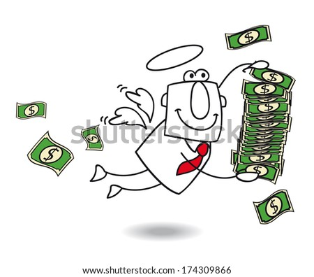 business angel brings money for your company - stock vector