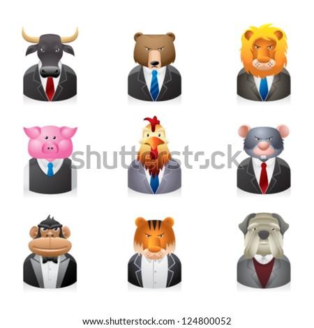 Business animal icon set - stock vector