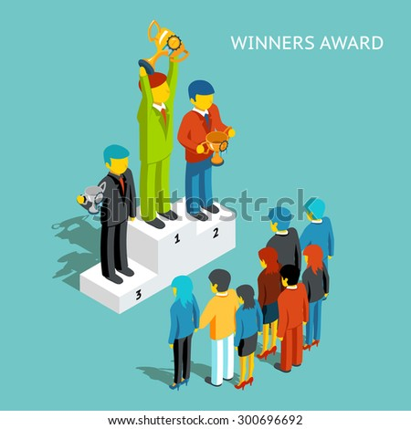 Business award winners. Successful business people with cups, 3d isometric. Victory champion, winner and first man, businessman reward, win competition, vector illustration - stock vector