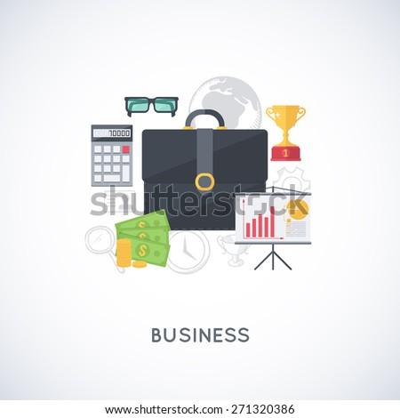 Business background. Abstract composition of business stuff. Modern flat design template.  - stock vector
