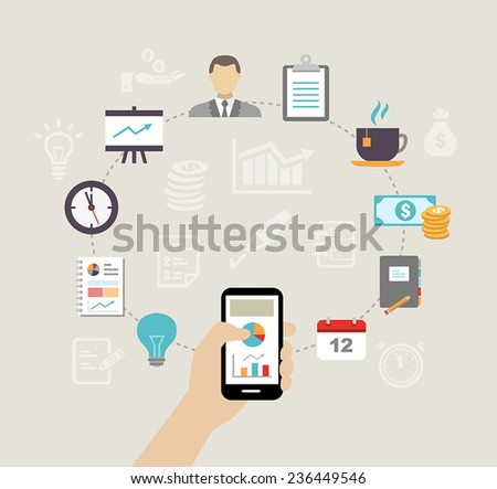 Business background - can be used to illustrate time management, task organization or planning a meeting or team building. - stock vector