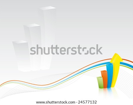 Business background - Colorful bar chart with waves and lines on gray background - stock vector