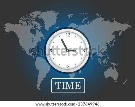 Business background, globe with clock over world map, vector. - stock vector