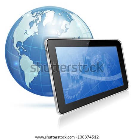 Business Background on screen Tablet PC and Earth, vector illustration isolated on white background - stock vector