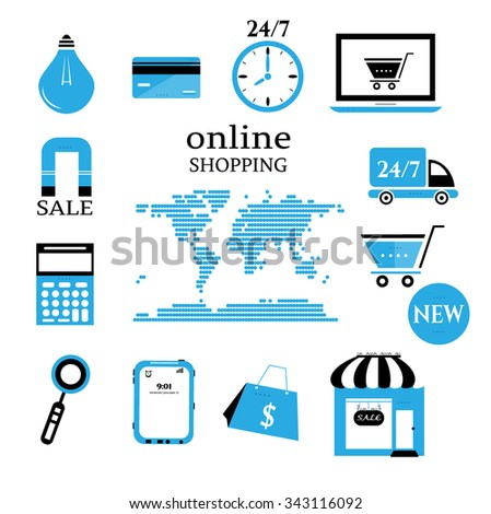 Business background, online shopping, world map with simple blue, black, white icons - shopping trolley, lightbulb, clock, notebook, credit card, bag, calculator, van, shop, magnifier, cell phone - stock vector