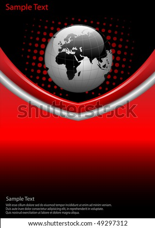 business  background red and black with world globe, vector. - stock vector