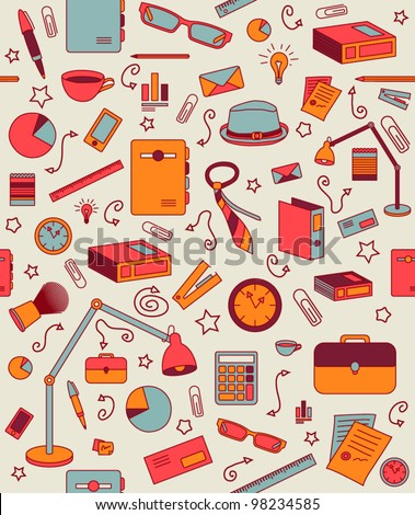 Business background, vector. Retro office pattern