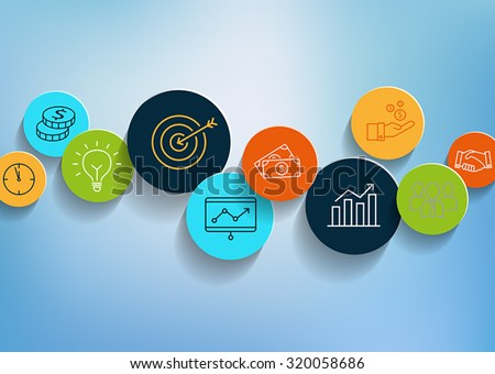 Business background with icons in flat design style. Can be used to illustrate business topics, productivity, management, success. - stock vector