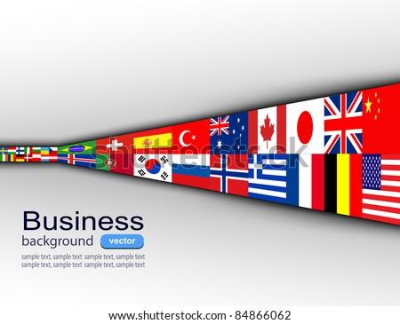 Business background with international flags, vector - stock vector