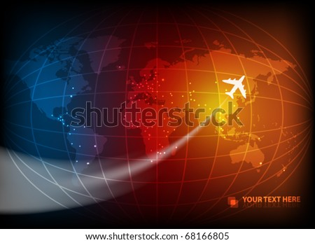 Business background with map of the world and airplane. EPS10 vector illustration. - stock vector