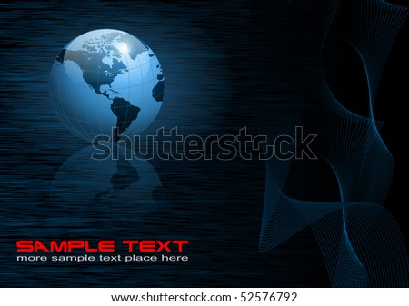 Business background with world globe dark blue, EPS10 - stock vector