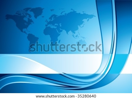 Business background with world map, vector illustration