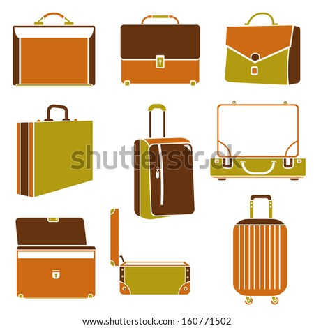 business bag set, suitcase - stock vector