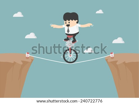 Business balancing on the rope  - stock vector