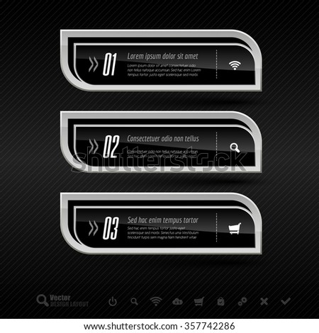 Business banners on the dark background. Vector design elements for infographics. - stock vector