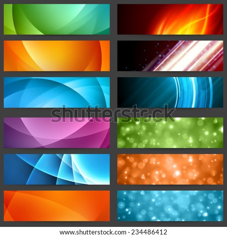 Business Banners set for website abstract modern background design. Geometric and blurred lights effect background.  - stock vector