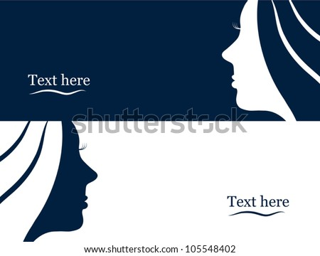 Business banners with beautiful woman silhouette - stock vector